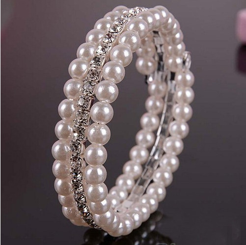 Fashion 2 Rows White Faux simulated pearl Rhinestone Stretch Women Bracelets Bangles Best Gift Free shipping