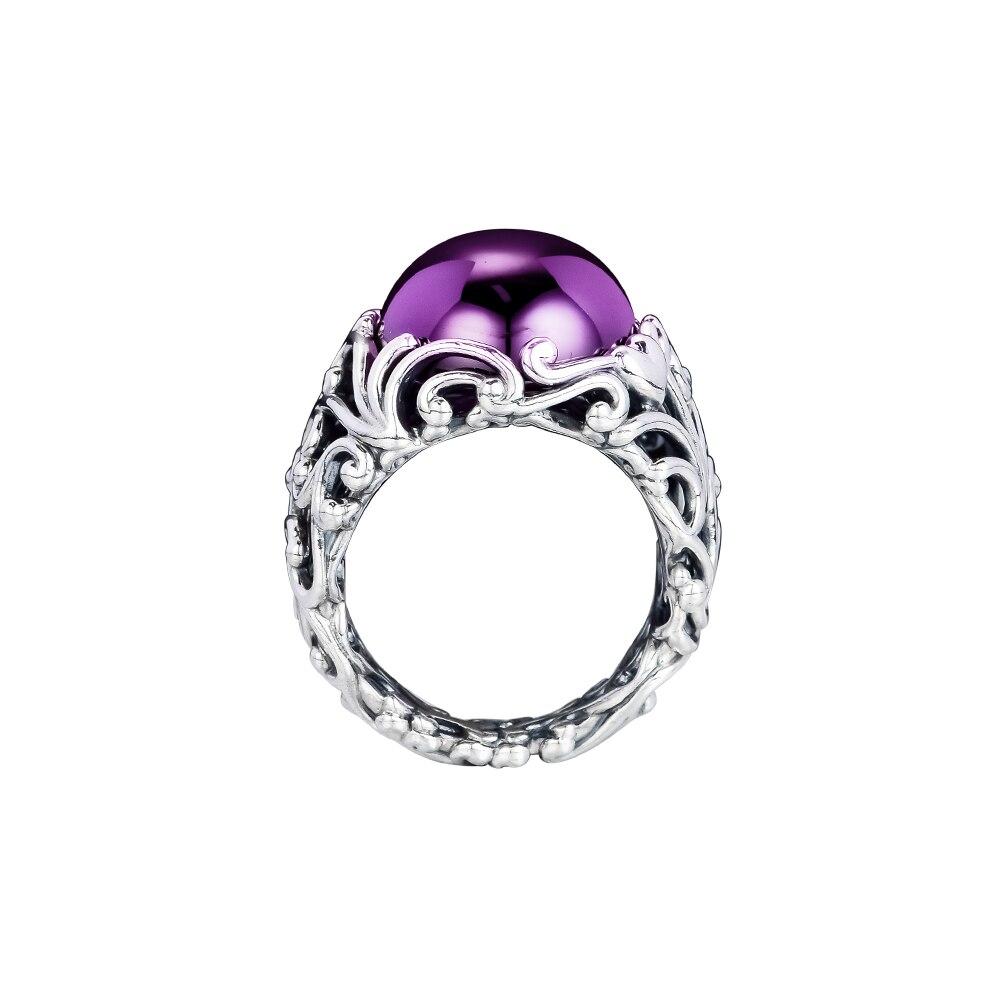Fandole 100% 925 bijoux en argent Sterling Regal éblouissant anneau de beauté violet CZ anneaux pour les femmes bricolage bijoux à breloques cadeau de fête 182