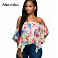 Ailunsnika 2017 Summer Women Chiffon Print Short Sleeve Exposed Umbilical Crop Tops Strapless Lotus Leaf T-shirt SY8059