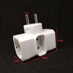 Image 5 - Enchufe adaptador de corriente de 16A, convertidor de enchufe francés de 1 a 3, enchufe eléctrico blanco extendido