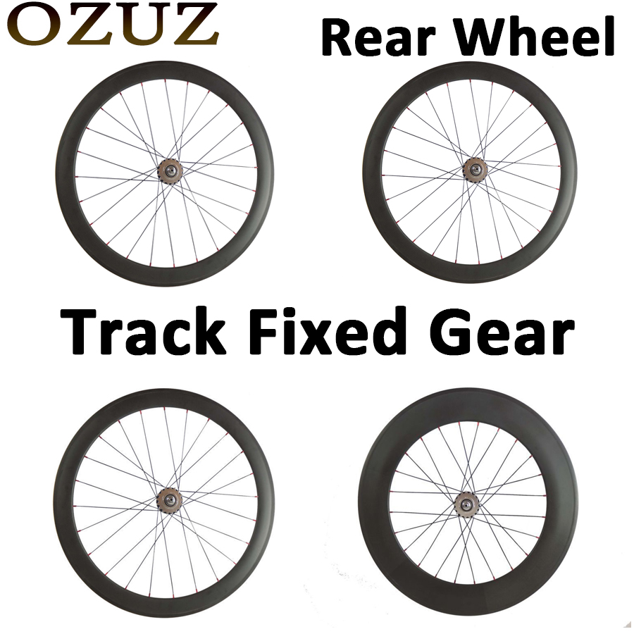 Track Fixed Gear OZUZ 700C 24mm 38mm 50mm 60mm 88mm Clincher Tubular Road Bike Bicycle Carbon Wheels Racing Only Rear Wheel track fixed gear front 38mm rear 50mm depth clincher single speed carbon track wheels road bike bicycle wheel 3k matte or glossy
