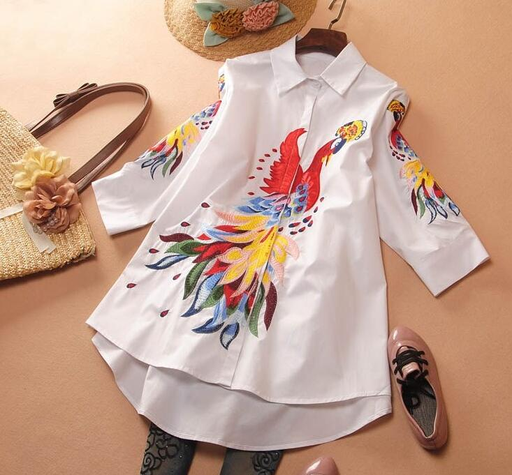 Femmes printemps paon broderie chemise blanche femme Vintage National lâche décontracté grande taille chemise longue Blouse TB696