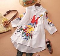 Women's Spring peacock embroidery white Shirt Female Vintage National Loose Casual Plus Size Long Shirt Blouse TB696