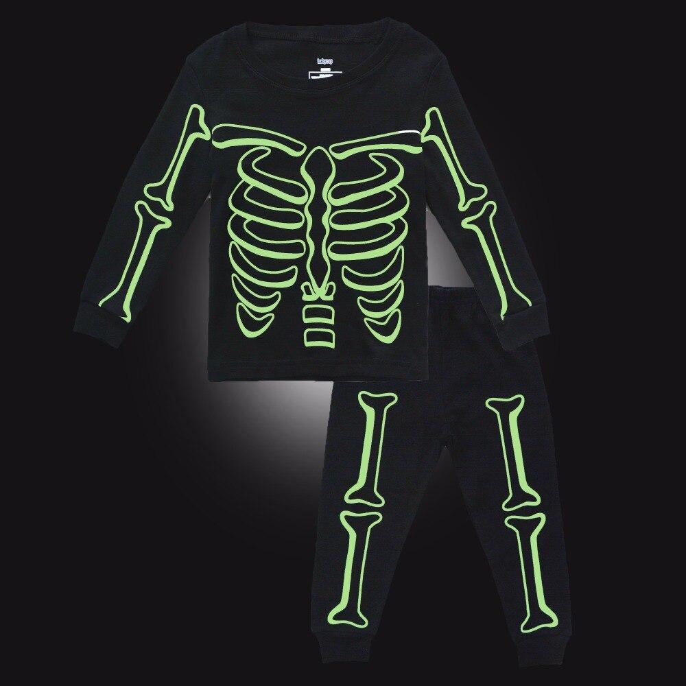 BINIDUCKLING Baby Boy Sleepwear   Pajama     Sets   Luminous Skull Cotton Long Sleeve T-Shirt+Pants For Kids Children's Pyjamas Clothing