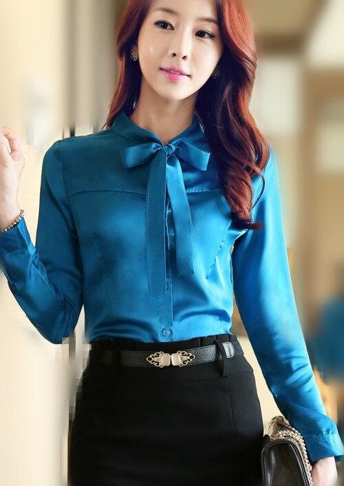 c412cf37182508 2016 Long sleeve bow blouse women satin blouse silk satin top big size  elegant office satin