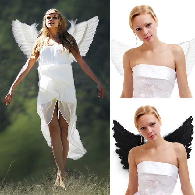 2017 Christmas Adult Angel Feather Wings Photo Prop Stage Show Halloween Costume Wedding Party Supplies Kid Birthday Gift Decors