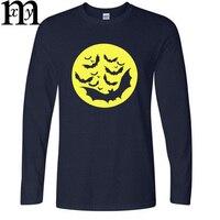 Halloween Mond Fliegende Fledermaus T-shirt Männer Oansatz Langarm Baumwolle Mode Männer Halloween T-shirt Tops