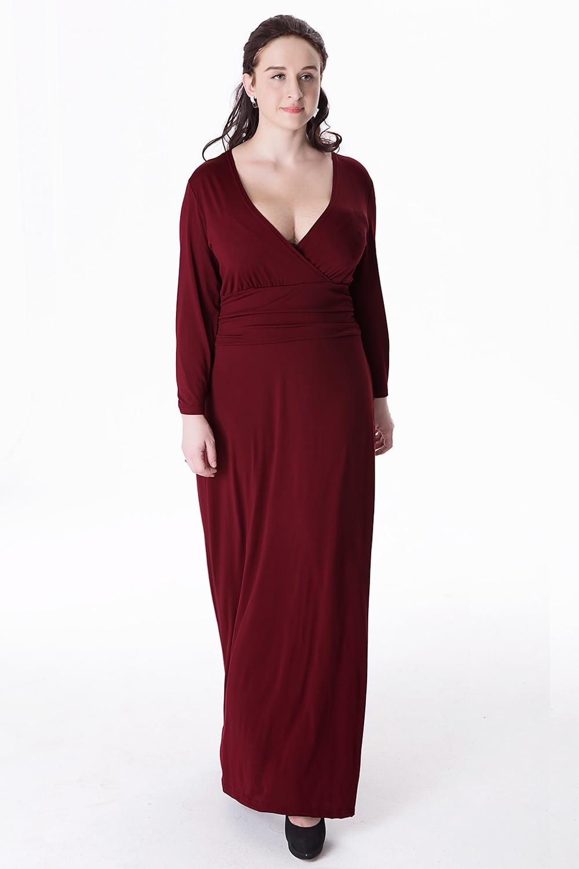 250d3e770d Women V Neck Long Jersey Dresses Large Size 6XL 2017 Autumn Winter Hot Lady  Knitted Long Sleeve A-line Maxi Dress Empire Vestido