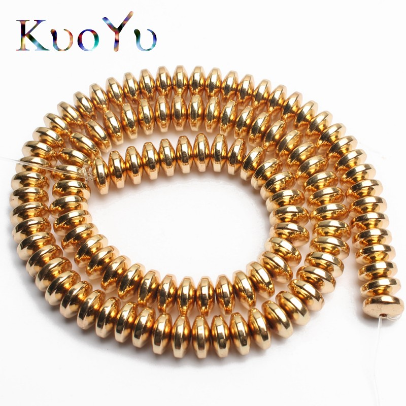Natural Gold Rondell Stone Hematite Spacer Beads For Jewelry Making 4/6/8mm 180pcs/lot DIY Bracelet Pendant Necklace wholesale
