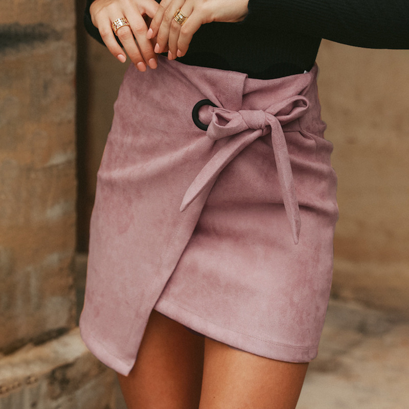valentine gift Winter Autumn Women Irregular Lace Up Skirt Women Empire Suede Leather Sexy Skirt Female Casual Skirt