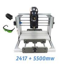 2417 + 5500 mw, podłubać grawerowanie maszyny, mini PcbPvc Frezarka, Metalu Rzeźba W Drewnie maszyna, 2417, grbl sterowania
