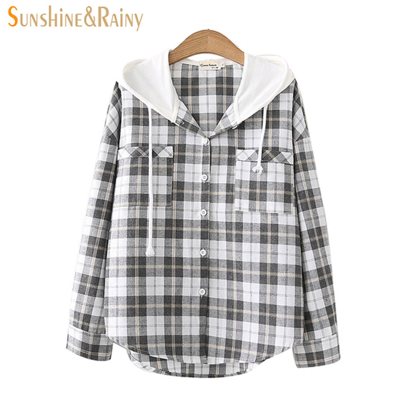 Early Spring New Female Hoodies Spliced Plaid Shirt Loose Pockets Decoration Long Sleeved Coat Blouse 2018 Cardigan Shirt