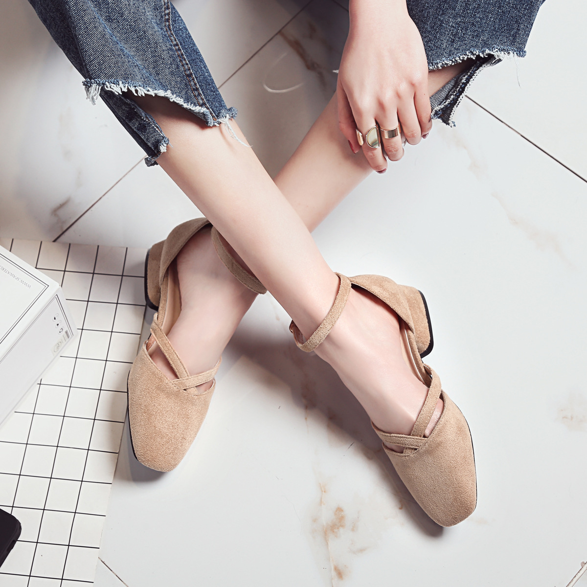 2019 Spring Summer Women Shoes Ankle Strap Low Heels Shoes Faux Suede Woman Dress Shoes Cross-tied Pumps zapatos mujeriok9
