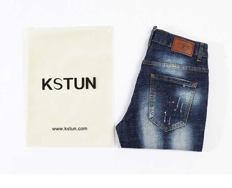 KSTUN Summer Mens Shorts Jeans Man Distressed Painting Frayed Biker Jeans Hollow Out Stretch Blue Denim Pants Short Male Jean 17