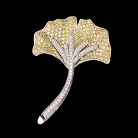 OBN Fashion Micro Paved CZ Yellow Ginkgo Biloba Leaf Brooch For Women Dresses Pins Sweater Clips
