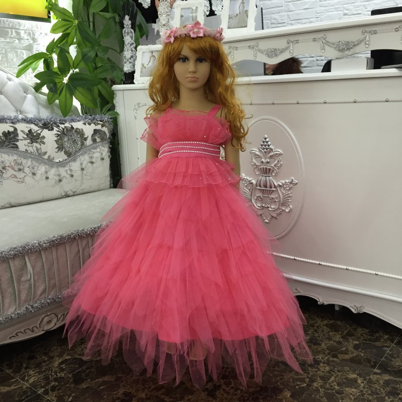 Free Shipping Factory Wholesale Ruffly Flower Girl Dresses 2019 New Arrival Tiered Party Gowns Children Dress For Kids 2 8 Years in Dresses from Mother Kids