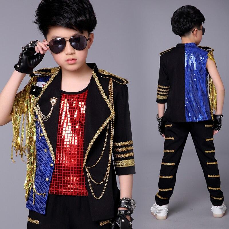 Hip Hop danse Costumes enfants paillettes frangées veste noir pantalon garçons Jazz rue danse vêtements enfant moderne scène porter DN2978