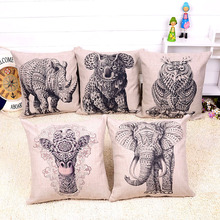 Modern Black And White Rhinoceros Owl Koala Kids Cushion Geometric Triangles Stripes Rug Pattern Pillowcase Animals Velvet