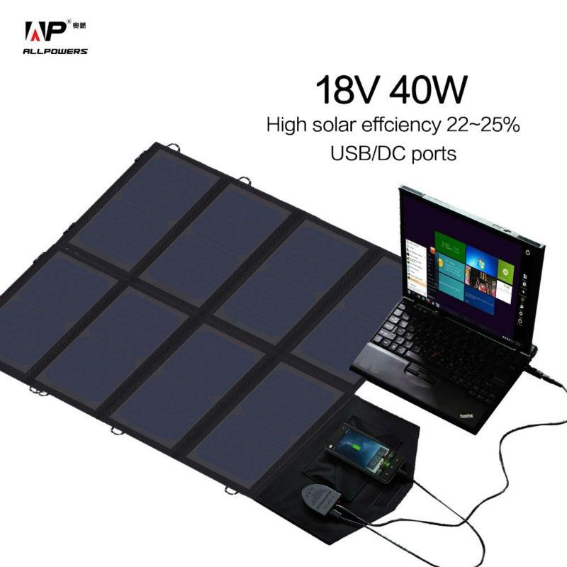 Solar Charger 18V 40W Solar Phone/Tablet/Laptop/Car Battery Charger for iPhone Samsung iPad Lenovo Dell HP Vaio 12V Car Battery беспроводная камера flir fxv100 fxv101 w