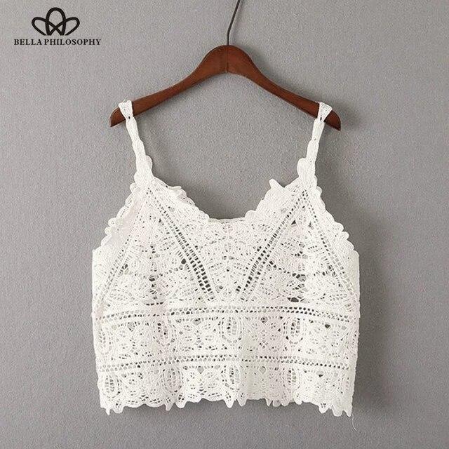 Bella Philosophy 2018 spring summer crop top women t-shirt Crochet condole beach