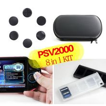 For Sony PS Vita 2000( Travel bag hard case + 10in1 game storage holder + 6pcs silicone analog D-pad stick cover Joystick cap )