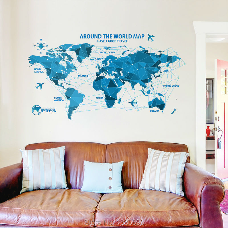 Earth Colorful Big World Map Wall Stickers Living Room Home - Big world map for wall