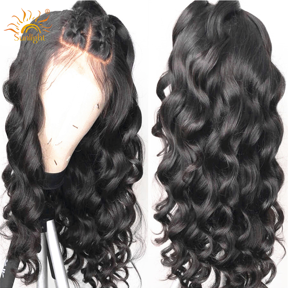 Loose Wave Lace Frontal Wig Pre Plucked With Baby Hair 150 Density Sunlight Peruvian Lace Front