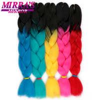 Mirra's Mirror 24 pouces 100g Ombre tressage cheveux Jumbo tresse cheveux synthétique tresses Extensions jaune rouge vert bleu
