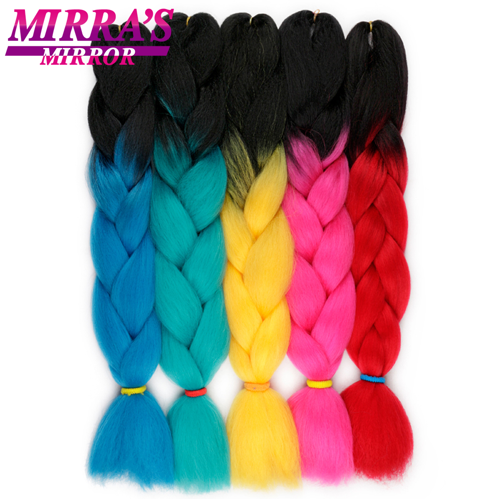Mirra's Mirror 24inch 100g Ombre Braiding Hair Jumbo Braid Hair Synthetic Braids Extensions Yellow Red Green Blue