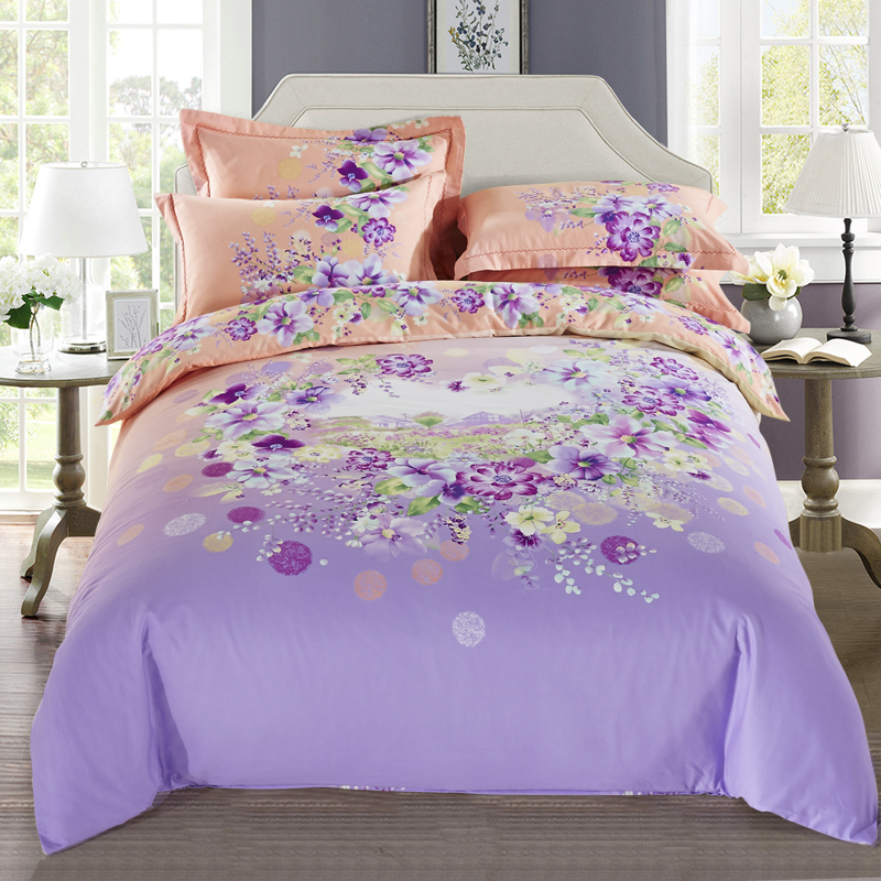 Romantic Heart Shape Flower Lilac Bedding Set Queen King Size Bed Sheets  Duvet Cover Soft And Warm Brushed Cotton Home Textiles In Bedding Sets From  Home ...