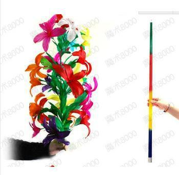 Free shipping! Steel Magic Vanishing cane to Flower (21 flower) - Magic Tricks, cane to flower,stage,close up,comedy,toys