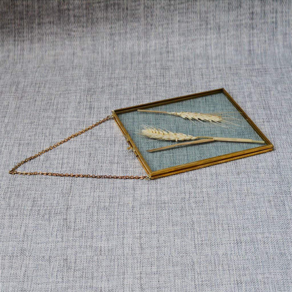 Antique Frame Brass Glass Decor Portrait Photo Metal Vintage Hanging Picture New