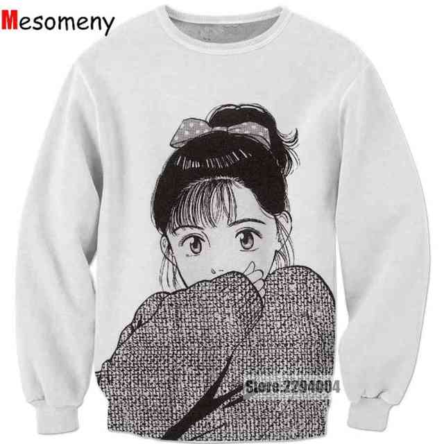 4d076492 Mesomeny Anime Sweatshirt Men Women Long sleeve Outerwear Streetwear  Hipster tops Cartoon 3d Print Crewneck Sweatshirt R3328