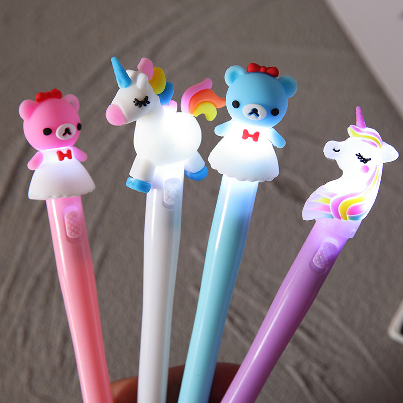 1PC  Light Gel Pens Cute Bear Unicorn PensKawaii Neutral Pens For Kids Girls Gift School Office Supplies Novelty Stationery