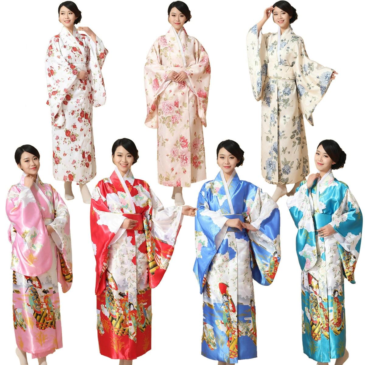Women Japanese Traditional Costume Long Sleeve Bathrobe Female Japanese Kimono Adult National Costume Yukata Party Cosplay 18