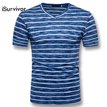 48c13474963cf iSurvivor 2018 Men Summer V Neck Stripped Camiseta Masculina Male Casual  Slim Fitted. US  12.10   piece Free Shipping
