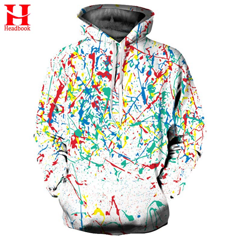 2017 Headbook Harajuku Hoodies Men Women New Fashion Sweatshirts Colorful Graffiti Hoodies Unisex Pullover Winter Hooded Tops