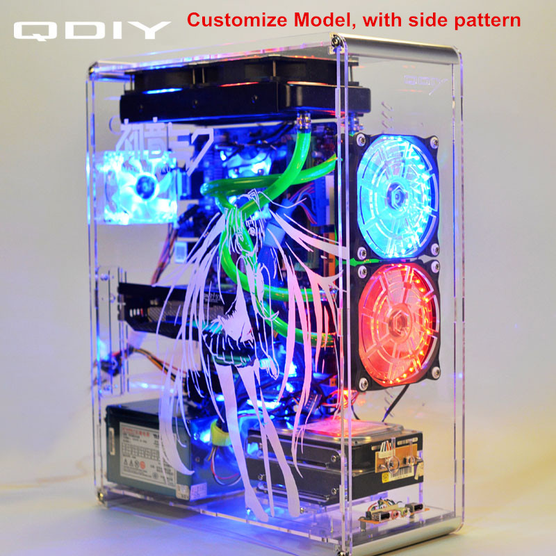 QDIY PC-A006S ATX Transparent Computer Case PC Case Water Cooling Game Player Acrylic Computer Case new 4u industrial computer case parkson 4u server computer case huntkey baisheng s400 4u standard computer case