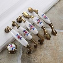European Blue Flower Ceramic Handle Modern Simple Cabinet Wardrobe Door Classical GardenEuropean Golden