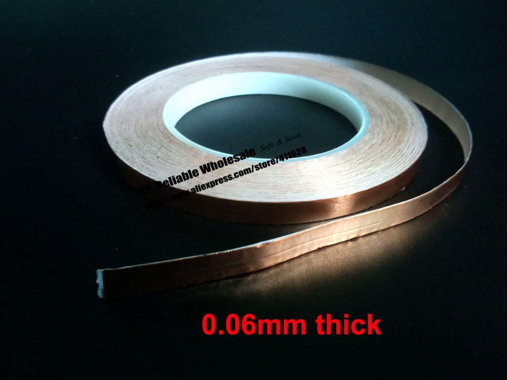 (0.06mm thick), 3mm*30M Single Adhesive, Electrical Conductive, EMI Shielding Copper Foil Tape for Guitar, Art Glass 85mm 30m 0 08mm thick single adhesive