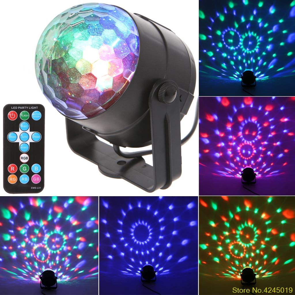 2018 New Style Fashion LED Disco Ball Dj Disco Ball Stage Light 3W 220V 7 Colors Sound Activated Strobe