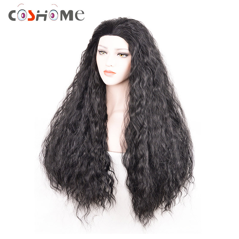 Coshome Moana Cosplay Costumes Wigs Halloween Party Dress Women Girls Synthetic Long Black Curly Hair Clothing Set