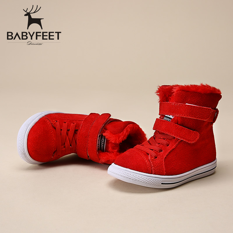Babyfeet brand 2017 Winter fashion warm soft solid leather casual sport boys flats sneakers kids children ankle snow boots shoes babyfeet 2017 winter children shoes fashion warm suede leather sport running school tenis girl infant boys sneakers flat loafers