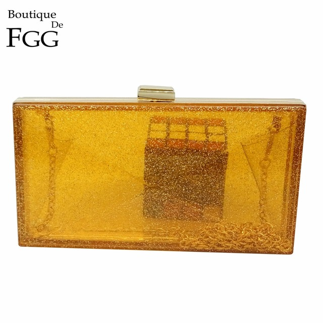 Women Party Prom Acrylic Handbag Box Yellow Transparent Evening Clutch Purse Ladies Dinner Shoulder Bag Metal Chain Day Clutches