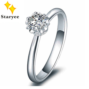 Certified 0.5CT VS D color Charles Colvard Moissanite Engagement Ring Genuine 18K White Gold Women Diamond Jewelry Au750 Stamp(China)