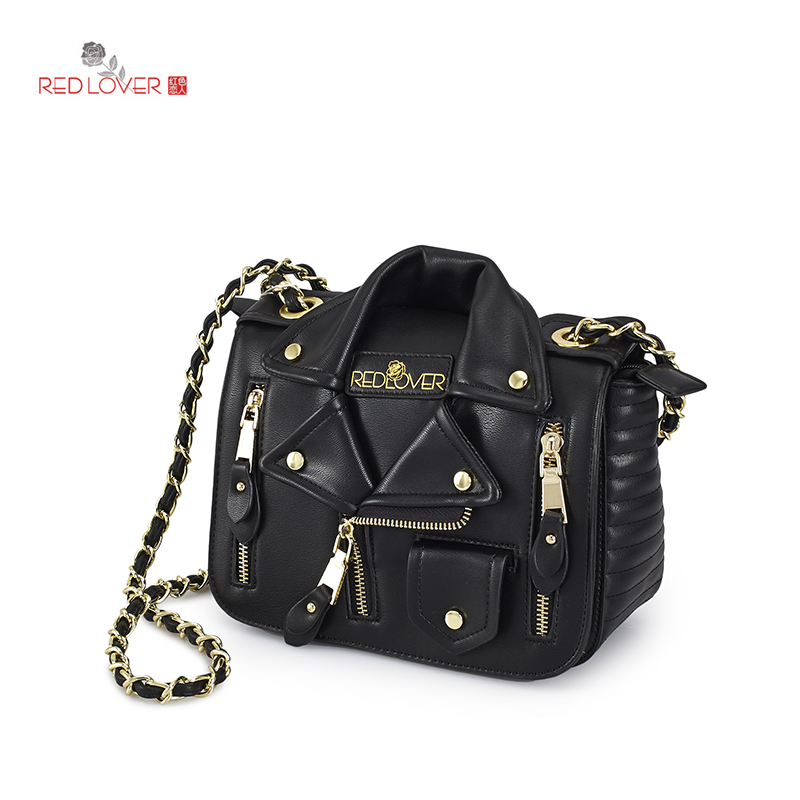 ФОТО Red Lover Female messenger bag PU leather Mini-bag chain bag Women Evening bag Locomotive crossbody
