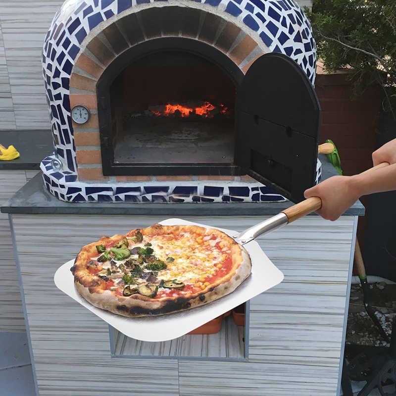 Aluminium Pizza Sekop Kulit dengan Panjang Gagang Kayu Kue Alat Aksesoris Pizza Dayung Spatula Kue Baking Cetakan