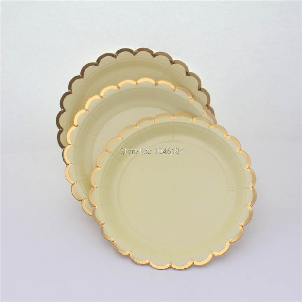 Platos de papel desechables de oro rosa 50pcs vajilla del partido de 7 pulgadas Platos de vajilla para nupcial Cumplea/ños de Navidad Cumplea/ños de oro rosa Suministros para fiestas