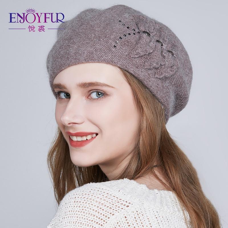 b53d70439a5e9 Detalle Comentarios Preguntas sobre ENJOYFUR sombreros de invierno para las mujeres  boinas de punto gorros de lana para niñas boina gruesa caliente gorras ...