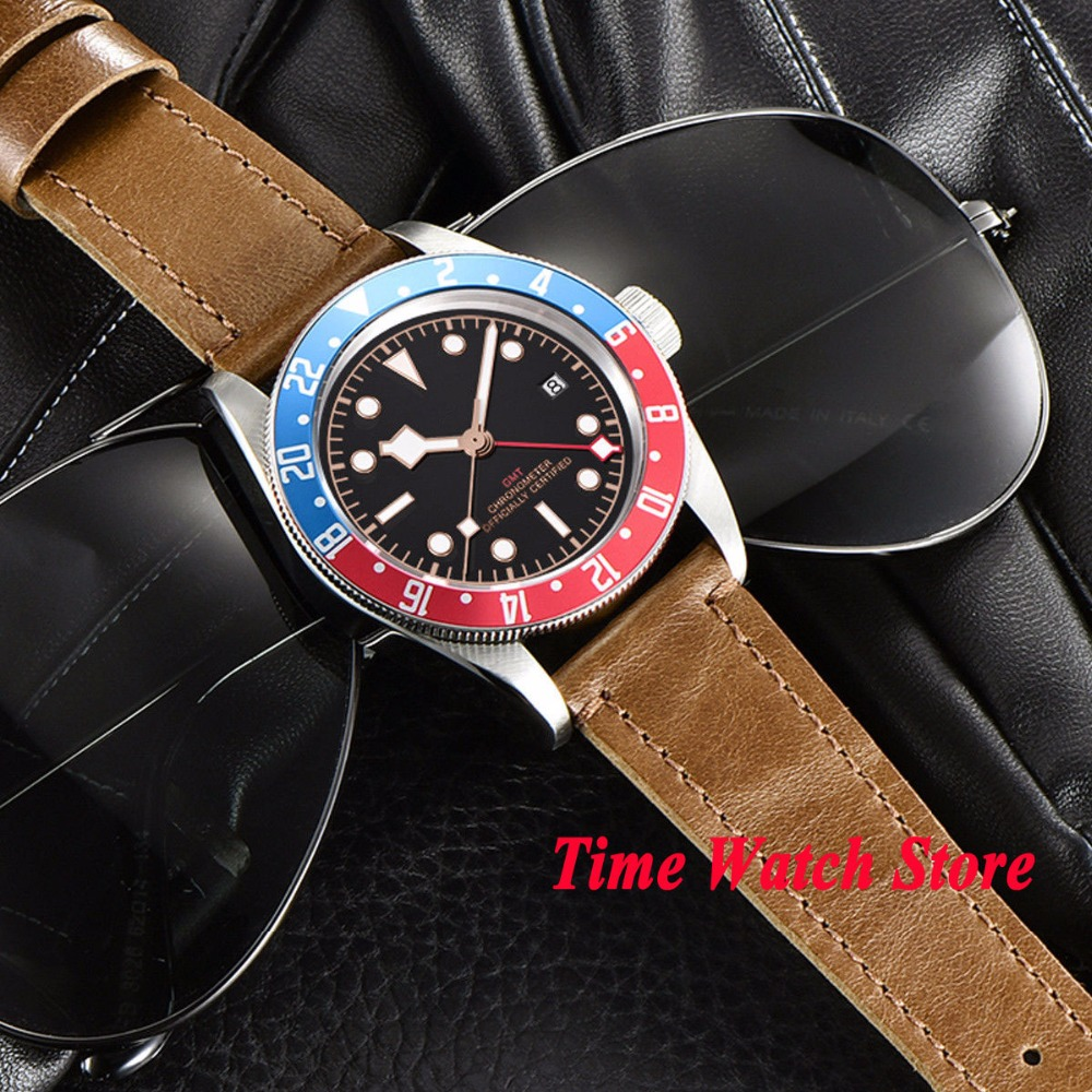 41mm Corgeut GMT automatic wrist watch men sapphire glass waterproof black strile dial luminous blue red Bezel leather strap - 4